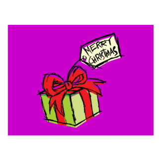 Custom Cute  Gift Box with Merry Christmas Tag Postcard
