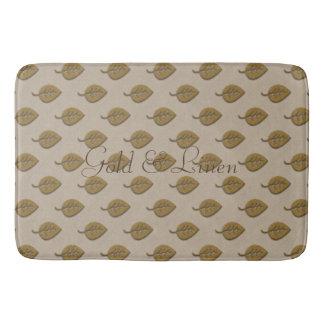 Custom Cute Golden Leaf Linen Pattern Mat
