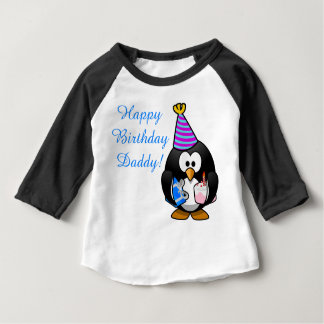 Custom cute Happy Birthday Daddy baby Penguin Baby T-Shirt