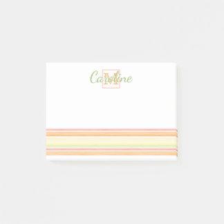 Custom Cute Happy Sunny Summer Watercolor Stripes Post-it® Notes