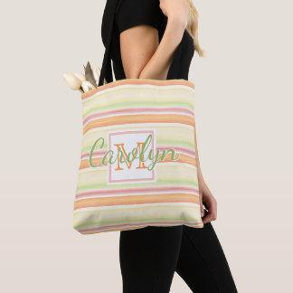 Custom Cute Happy Sunny Summer Watercolor Stripes Tote Bag
