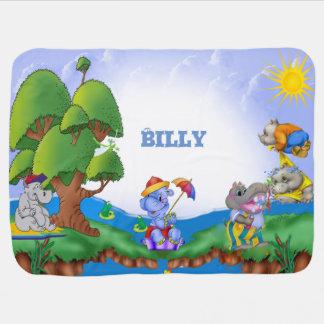 Custom Cute Hippos Kids Swaddle Blanket