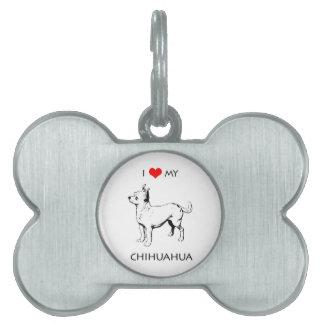 Custom Cute I Love My Chihuahua Pet ID Tag