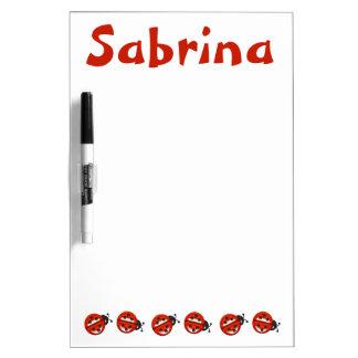 Custom Cute Ladybugs Kids Girls Red White Dry Erase Board