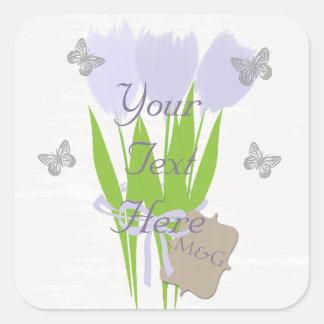 Custom  Cute Lilac Tulips  Butterflies Sticker