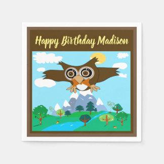 Custom Cute Owl Birthday Party Napkins Disposable Napkin