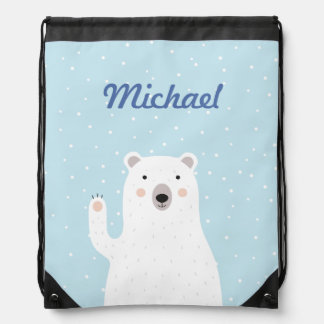 Custom Cute Polar Bear in the Snow Drawstring Backpacks