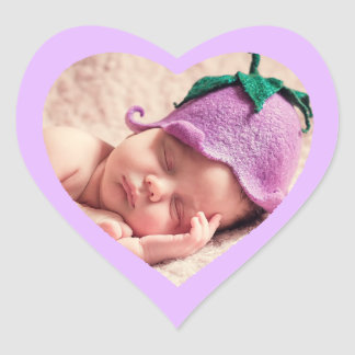 Custom Cute Purple Heart Shaped Baby Photo Sticker