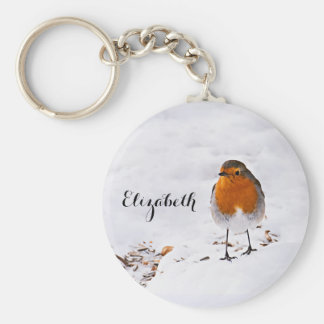 Custom cute Robin bird in snow add name Keychain