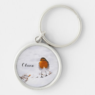 Custom cute Robin bird in snow add name Silver-Colored Round Keychain