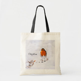 Custom cute Robin bird in snow add name Tote Bag