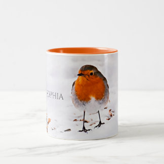 Custom cute Robin bird in snow add name Two-Tone Coffee Mug