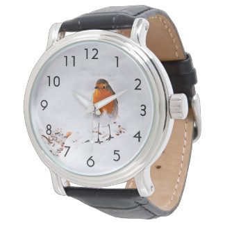 Custom cute Robin bird in winter snow Wristwatch