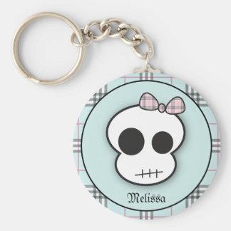 Custom Cute Scary Skull: Teal Keychain