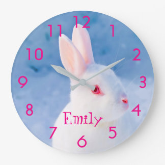Custom cute white rabbit on blue snow background large clock