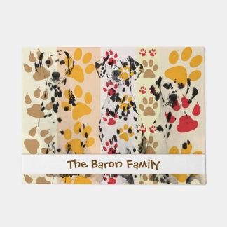 Custom Dalmatian dog with Paws Prints Doormat