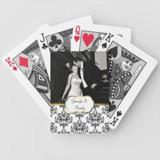 Custom Damask Wedding Photo Playing Cards