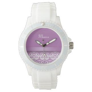 Custom Damask Wrist Watch with Personalized Name