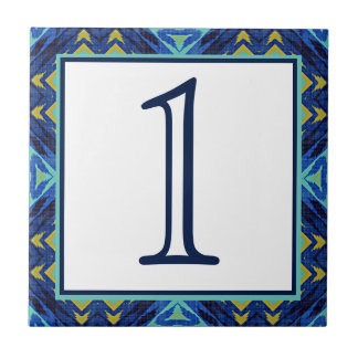 Custom Dark Blue Green Yellow Eclectic Ethnic Look Tile