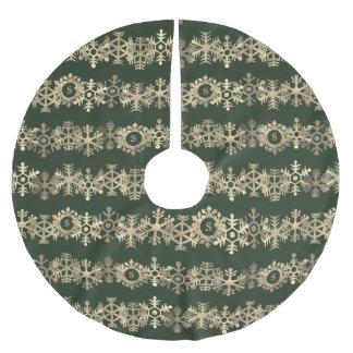 Custom Dark Green and Gold Snowflake Tree Skirt