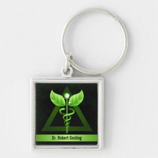 Custom Dark Green Caduceus Alternative Medicine Silver-Colored Square Keychain