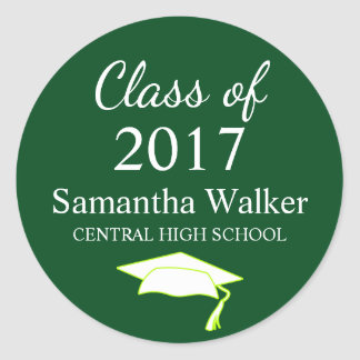Custom Dark Green & White Graduation Sticker