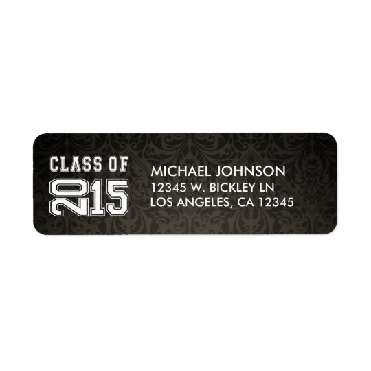 Custom Dark Grey Damask Class of 2015 Return Address Label