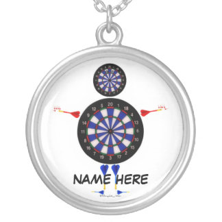 Custom Dart Player Cartoon Silver Plated Necklace