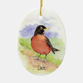 Custom Date, American Robin  Christmas Ornament