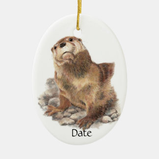 Custom Date Cute River Otter, Nature Animal Ceramic Ornament