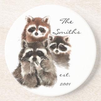 Custom Date Monogram Family Cute Raccoons Beverage Coaster