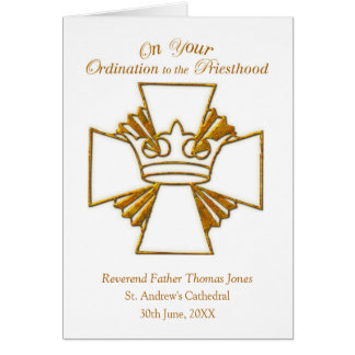 Custom Date, Name Ordination Congratulations, Gold Card