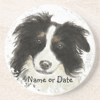 Custom Date or Name Border Collie, Pet, Dog Coaster