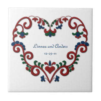Custom Date Wedding Anniversary Scandinavian Heart Tile