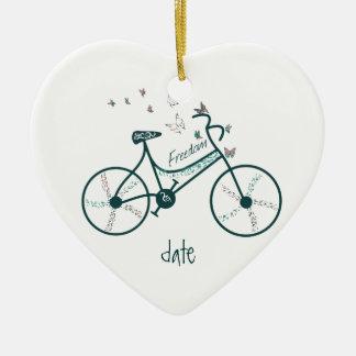 Custom Dated Bike Butterflies, Flowers & Freedom Ceramic Ornament