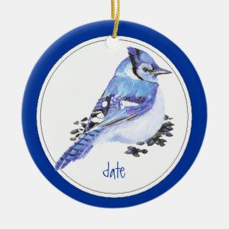 Custom Dated Blue Jay Bird Animal Ceramic Ornament