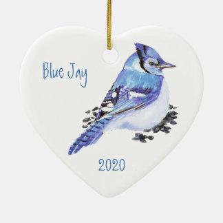 Custom Dated Blue Jay Bird Watercolor Art Ceramic Ornament
