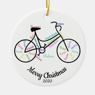Custom Dated Christimas Motivational Cycle Words Ceramic Ornament