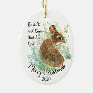 Custom Dated Christmas Be Still I am God Quote Ceramic Ornament