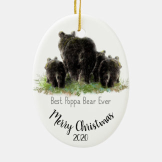 Custom Dated Christmas Best Poppa Bear Ever Ceramic Ornament