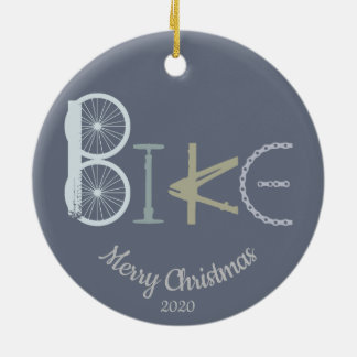 Custom Dated Christmas Bike Word From Parts Ceramic Ornament