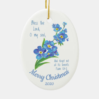 Custom Dated Christmas Bless the Lord Ceramic Ornament