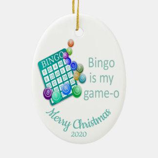 Custom Dated Christmas Fun Bingo Quote Ceramic Ornament