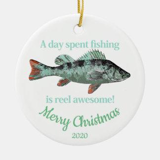 Custom Dated Christmas Fun Fishing Quote Ceramic Ornament