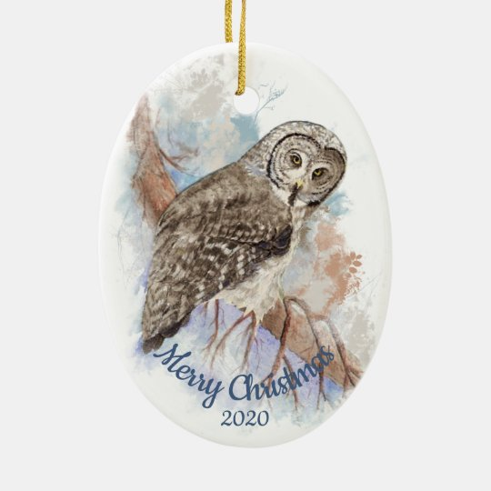 Custom Dated Christmas Great Grey Owl Bird Ceramic Ornament