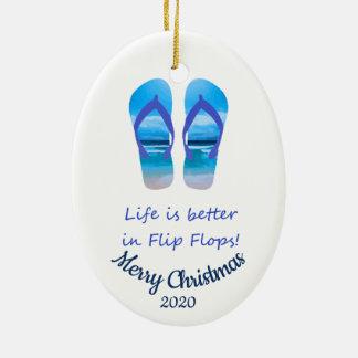 Custom Dated Christmas Life Better in Flip Flops Ceramic Ornament