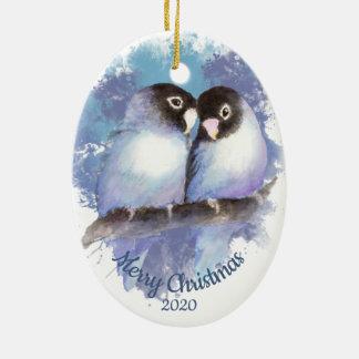 Custom Dated Christmas Love Bird Couple Ceramic Ornament