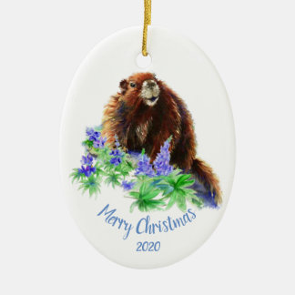 Custom Dated Christmas Marmot, Groundhog Animal Ceramic Ornament