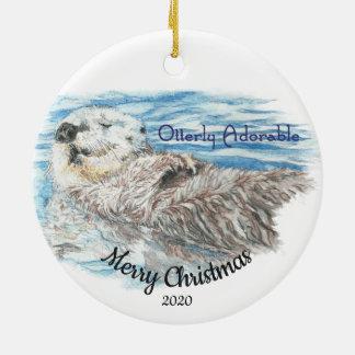 Custom Dated Christmas Otterly Adorable Otter Ceramic Ornament