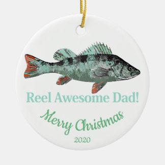 Custom Dated Christmas Reel Awesome Dad Fisherman Ceramic Ornament